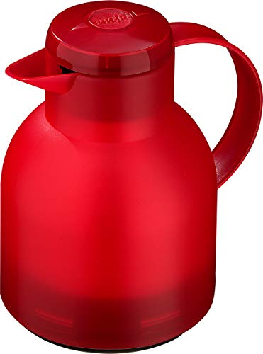 Emsa Samba Isolierkanne 504232 | 1 Liter | Quick Press Verschluss | 100% dicht | 12h heiß, 24h kalt | Rot Transluzent