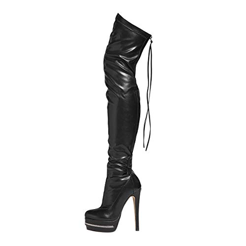 Stupmary Women Over the Knee Boots Thigh High Platform Bootie Heeled Party Rear Zip Lace Up Botas