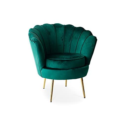 Tuoni Frida, poltrona design vintage in velluto verde, con gambe in oro lucido, elegante e preziosa per living e salotti