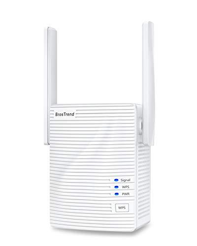 BrosTrend 1200 Mbit/s Wlan Repeater Wlan Verstärker für zu Hause, Abdeckung bis zu 110 m², Einfache Einrichtung, Funktioniert mit Allen Wlan-Routern, Eurostecker