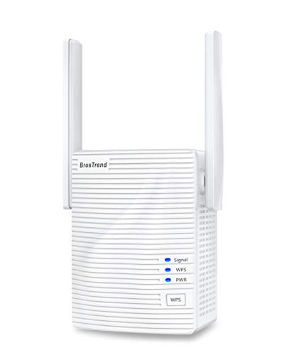 BrosTrend WiFi Extender 1200Mbps Signal Booster Range Repeater, Add Coverage up to 1200 sq.ft. in Your Home, Extend 2.4GHz & 5GHz Wi-Fi, Easy Setup
