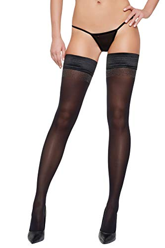 Selente Lovely Legs raffinierte halterlose Damen Strümpfe, 40 DEN, made in EU, schwarz-Metallicnaht, Gr. L