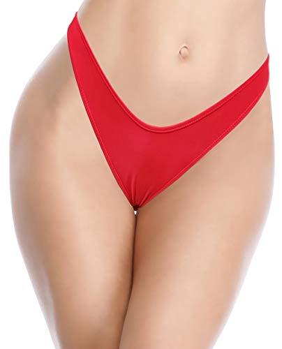 SHEKINI Damen High Cut Bikini Hose Thong Schlangemuster V Schnitt Strand Unterteil Grosse Grössen Schwarz Tanga Hosen(Rot C,M)