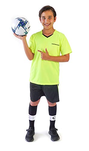 PAIRFORMANCE Boys Soccer Jerseys Sports Team Training Uniform Girls Age 4-12 Youth Shirts and Shorts Set Indoor Soccer (Dark Lime, Medium)