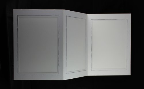 Webafi 5 Stück weiße Foto Portraitmappen für Bildformat 13x18 cm Fotomappen Leporellos 3-teilig Passepartout mit feinem Silberrand