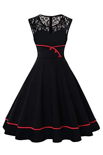 MisShow Damen elegant Retro Vintage 50er Petticoat Kleid Einfarbig Rockabilly Swing Kleider Schwarz 4XL