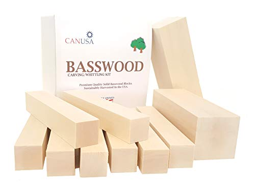 CanUsa Brand Wisconsin Basswood Carving Kit, Beginner or Expert Basswood Carving or Whittling kit. Two Large Basswood Carving Blocks and Eight Small.