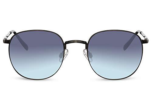 Cheapass Gafas de sol Sunglasses redondas de Metálicas plateado oscuro con bisagras flexibles Retro Vintage azul degradado lentes UV400 protegido para hombre y mujer