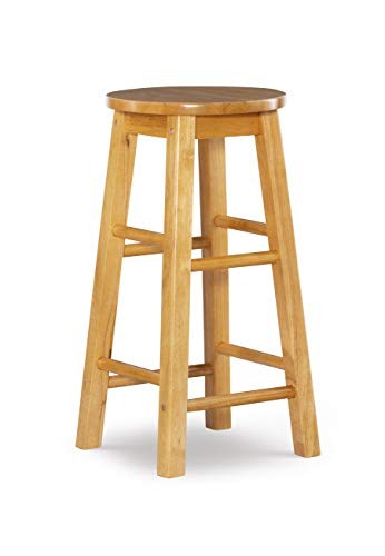 Linon Natural Barstool with Round Seat, 24-Inch