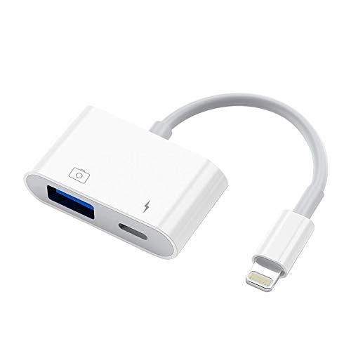 meloaudio USB Kamera Adapter mit Ladeanschluss, USB Buchse OTG Kabel kompatibel iOS9.2-13, unterstützt USB Flash Drive Maus MIDI Tastatur Elektrisches Piano Drum Mikrofon Audio Interface, Plug & Play
