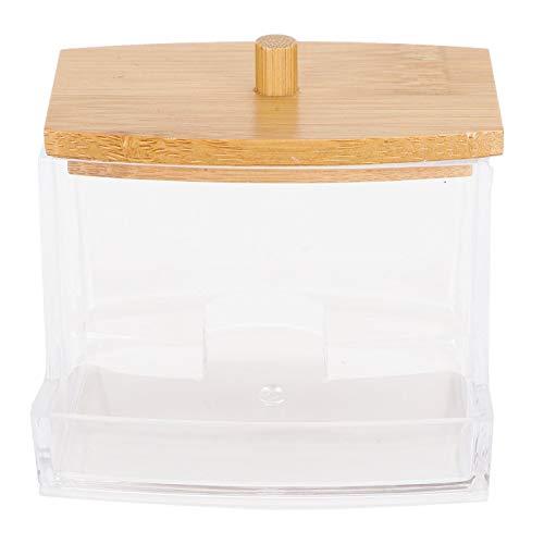 Jenngaoo Boîte de Rangement Transparente Acrylique en Bambou et Bois, décoration de Salle de Bain Moderne Porte-Coton-Tige Distributeur de Coton-Tige boîte de Rangement de Salle de Bain (Rectangle)