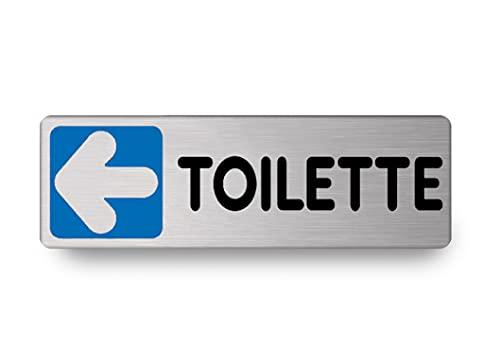 Nitek Targa Toilette Verso Sinistra in Alluminio Satinato 150mm x 50mm -Targhette Autoadesive Stickers, Klebeetikett  Impermeabili Lavabili, Pub, Bar