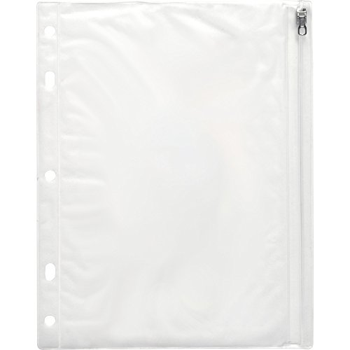 """Ring Binder Pocket, with Zipper, Vinyl, Hole Punched, 10.5""""x8"""", CL"""