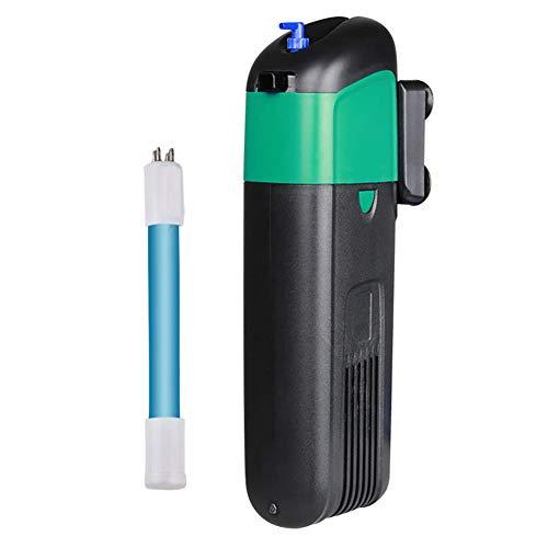 Jiasj Filtro Interno de Acuario con Lámpara de esterilización UV de 5W, Multifuncional Ajustable 500L / h Bomba Sumergible para 50-100L de Agua Dulce y Tanque de Agua de mar