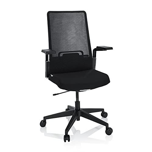 hjh OFFICE 790017 Design Bürostuhl PATERNA B Stoff/Netz Schwarz Ergonomischer Drehstuhl, Lordosenstütze verstellbar