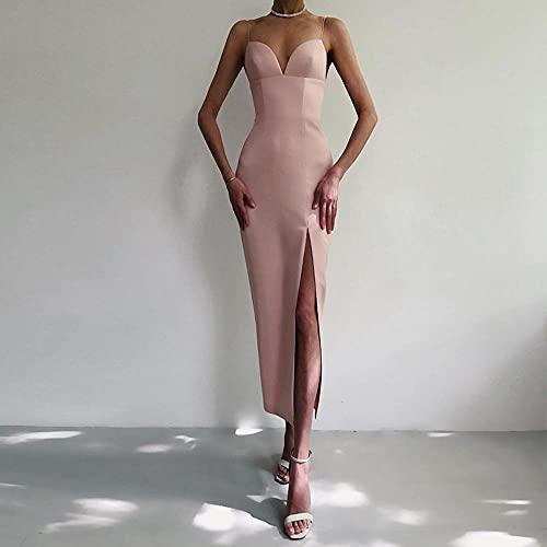 Sommer Frauen Weiß Bodycon Verband Kleid V Neck Strap Club Celebrity Abend Runway Party Maxi Kleider-Apricot_Xs