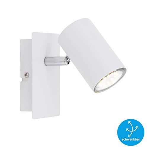 Briloner Leuchten Faretto da Parete orientabile, Compatibile con Lampadina GU10 da Max. 40 Watt, 1 Punto Luce in Stile Moderno ed Elegante, Bianco W