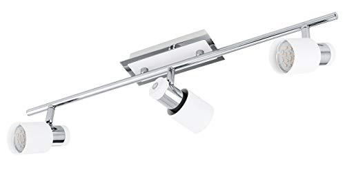 EGLO Spot Deckenbeleuchtung, Stahl, GU10, Chrom-weiß, 58 x 7 x 16 cm