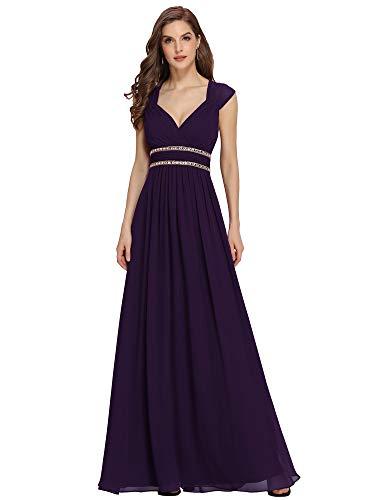 Ever-Pretty Damen Abendkleid A-Linie V Ausschnitt Abschlusskleid rückenfrei lang Dunkelviolett 38
