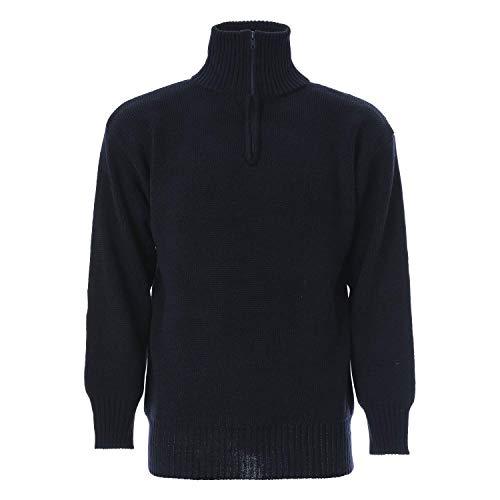 Maglione A Collo Alto Con Zip In Misto Cotone - S, Blu