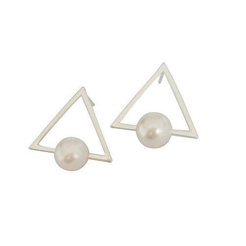 ELAINZ HEARTLa Triángulo pendientes de perla prisionero con diseño, diseño único, para mujer, plata de ley 925, 7-8 mm AAA, la mejor perla blanca redonda