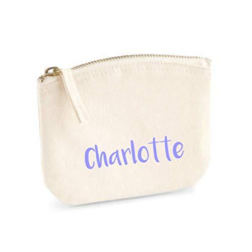 Schminktasche für Mädchen | personalisiert mit Namensdruck | kleine Kosmetiktasche für Kinder inkl. Name | Make-up Täschchen mit Reißverschluss | Abmessungen: 14,5cm x 11cm (natur)