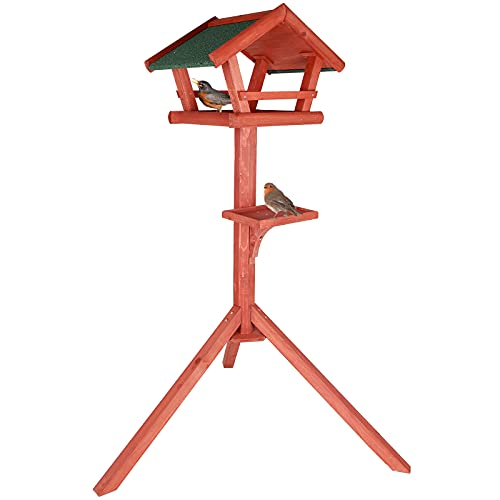 Petsfit Bird Table Wooden Bird Tables for The Garden,Assembled Bird Tables with Asphalt Shingles and Feeder Tray for Robin and Magpie