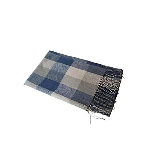 Invierno Long Suave Tartán Tartán Cálido Comprobar Bufandas Wraps for Women Wool Spinning Tassel Shawl Long Tox Blue and Grey