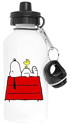 Snoopy frío fuera Aluminio Blanco Botella de Agua Con Tapón de Rosca Aluminium White Water Bottle With Screw Cap