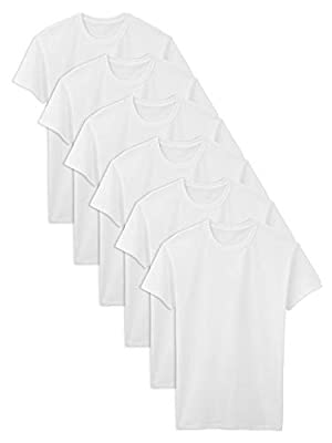 Fruit of the Loom Men's Stay Tucked Crew T-Shirt, White - Tall Sizes, X-Large Tall