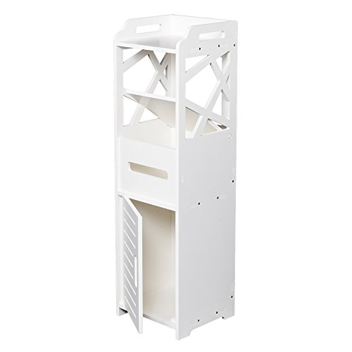 Check Out This 3-Tier Free-Standing Bathroom Storage Cabinet with 2 Doors Toilet Storage 232380CM Wh...