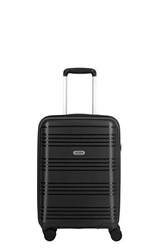 travelite 4-Rad Koffer Handgepäck Hartschale mit TSA Schloss erfüllt IATA-Bordgepäckmaß, Gepäck Serie ZENIT: Robuster Hartschalen Trolley in unverwechselbarer Optik, 075747-01, 55 cm, 36 L, schwarz