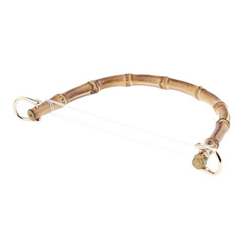 IPOTCH DIY Bambus Taschengriff Ersatz Taschengriffe mit Metall Schnalle für Taschenherstellung - Gold