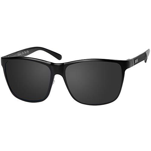 Multi-Purpose Sport Fishing Sunglasses | UV 400 Polarized | High-Grade Aluminum Frames | by Fishing On The Fly (Black, Black (Polarized))