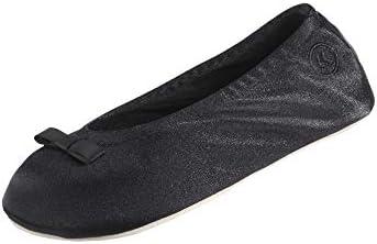 isotoner Women s Signature Satin Ballerina Slipper Black 8 9 product image