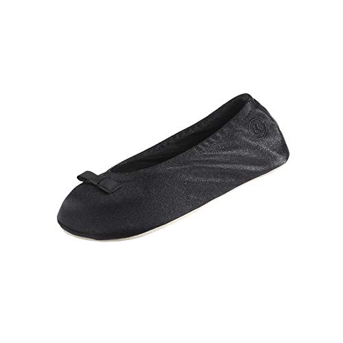 isotoner Women's Signature Satin Ballerina Slipper, Black, 6.5/7.5