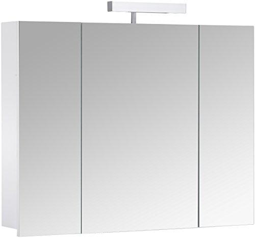 Eurosan 3-türiger Spiegelschrank, Superflach, Halogenaufsatzleuchte, Breite 80 cm, Weiß, Berlin, B80