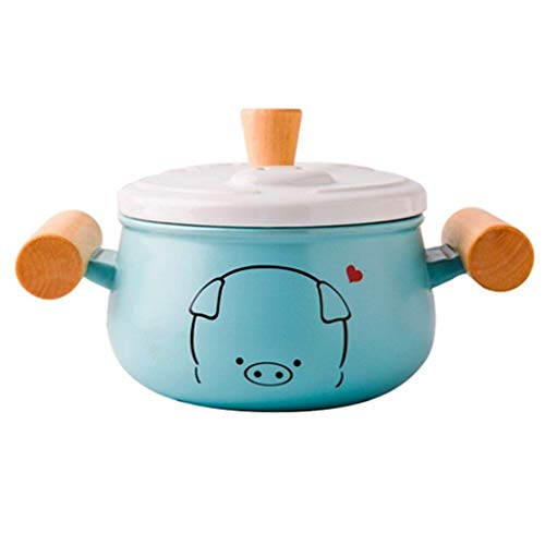 XIAO WEI Casserole cookware Small Fresh Blue Sweet Ceramic Casserole Slow stew Best for The Household (Size: 1.2 l)