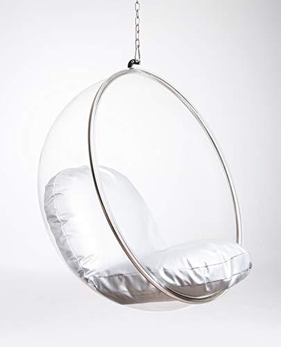 Acryl Indoor Glass Ball Chair, Raum Stuhl, Ball Chair Swing, Hängenden Korb, Schaukelstuhl, Drehsessel, Drehbarer Sessel, Komfortabler Sessel für jedes Interieur,Hängesessel mit Kissen