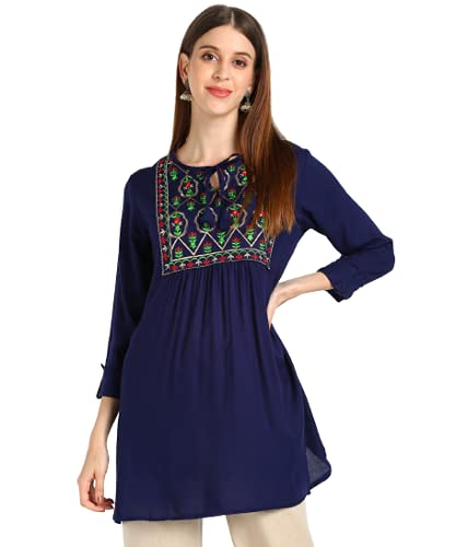 AGUJA Rayon Fabric Knee Length Embroidery Worked Kurti for Women | Short Kurta | Jaipuri | Traditional | All Patterns