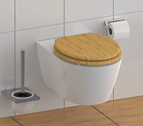 Schütte BAMBUS WC-Sitz mit Absenkautomatik, Toilettensitz mit Klodeckel in Holzoptik, Nachhaltiger Toilettendeckel (maximale Belastung der Klobrille 175 kg), Naturfarben