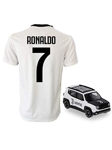 Perseo Trade Cristiano Ronaldo 7 CR7 Kinder (Größen 2 bis 4 6 8 10 12) Erwachsene (S M L XL) + Mini Jeep Juventus 1:43, WEISS SCHWARZ, 8/9 Anni