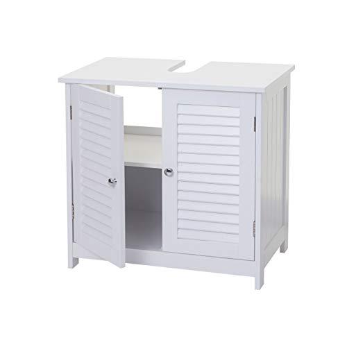 Mendler Waschbeckenunterschrank HWC-F75, Badezimmer Waschtischunterschrank Unterschrank, Staufach Landhaus 60x59x35cm weiß