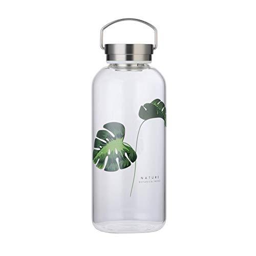 Trinkflasche Glas 1,5 Liter Wasserflasche mit Neopren-Hülle Auslaufsicher Tragbarer Edelstahldeckel Bpa Frei