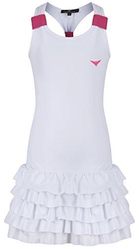 Bace Ragazze Bianco e Rosa Tennis Vestito con Mutande Bambini Tennis Dress Junior Netball Vestito Golf Abbigliamento Sportivo, Bianco, 11-12 Anni