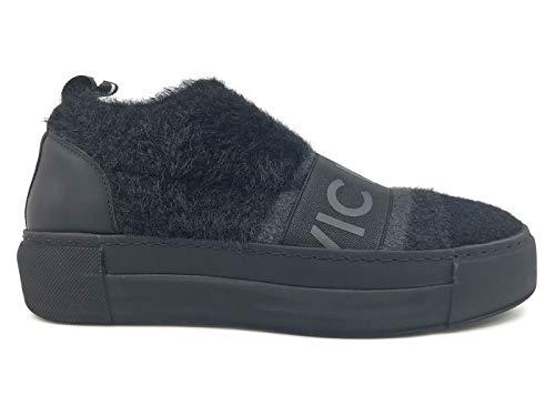 Vic Matie' 6702 Schwarz Damen Sneaker aus Stoff und Leder, Schwarz, Schwarz - schwarz - Größe: 38 EU