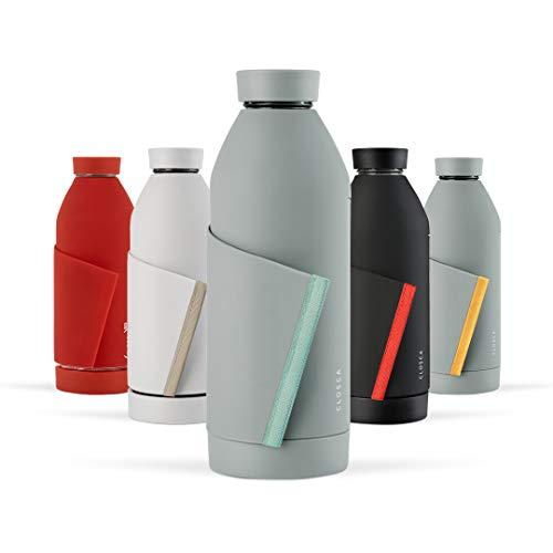 Closca Botella de Agua de Cristal 420ml Bottle. Cantimplora de Vidrio Libre de BPA. Doble Apertura y Solapa Elástica para fácil Transporte. (Gray/Glacier)
