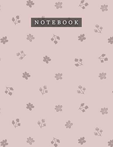 Notebook Rosy Brown Color Cool Floral Pattern Background Cover: Planning, Monthly, Daily, Teacher, 8.5 x 11 inch, 21.59 x 27.94