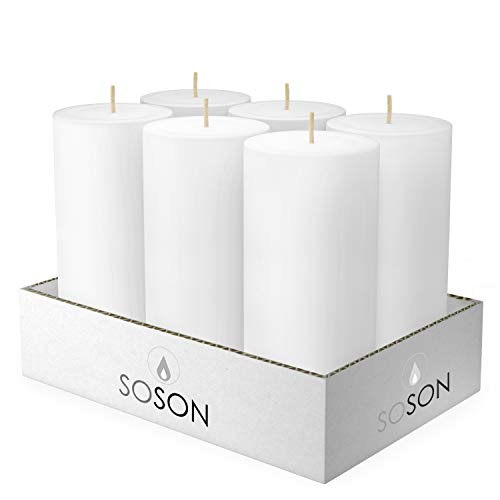 Simply Soson 3X6 Pillar Candles White Unscented Candles Long Burn Pillar Candles Pillar Candles for Home Cotton Wick Scent Free Paraffin Wax. Slow Burning 6 Pack