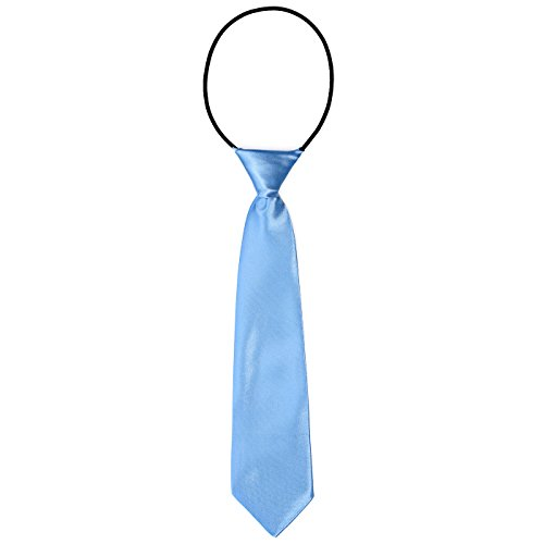 DonDon Corbata para niños con aire de seda brillada - 7 cm de ancho - con elástico - azul claro